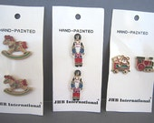Christmas Buttons - JHB Brand - Metal - Hand Painted -  Train Rocking Horse - Nutcracker -Price per Card