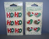 Christmas Ceramic Buttons - 6 Trenas Different Patchwork Hearts - Price per Card
