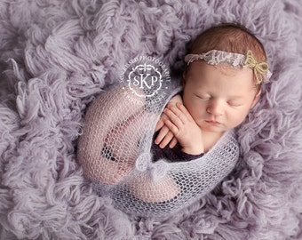 Paloma - Vintage Inspired Lae Headband - Tan Dusty Purple OR YOU CHOOSE Color - Burlap Twine Bow - Newborn Infant Baby Girl Toddler Adult