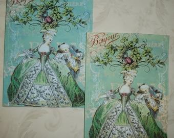 MARIE ANTOINETTE - Elegant Notecards - Romantic - French - Set of 4 notecards and envelopes - MANC 755
