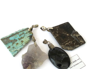 Natural Stone, Brown,Black Agate, Amethyst,Turquoise, 4 Pendants Set, Antiqued Silver Decorative Bail, 1039-27A-7