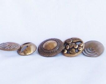 buttons, vintage, brass, metal, 5 pieces, variety, C, destash