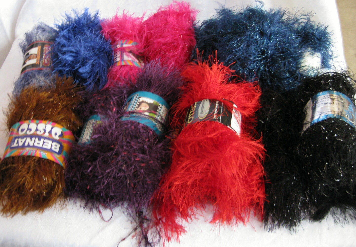Novelty Yarn : Eyelash yarn destash novelty yarn 36 balls assorted by crochetgal