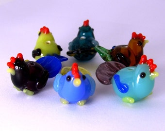 Everywhere A Chick Chick - Lampwork Bead Set of Two