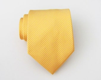 Mens Ties. Necktie Yellow Gold Tonal Stripes Mens Tie