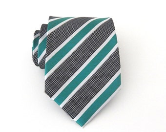 Mens Ties Necktie Green Black White Stripes Mens Tie