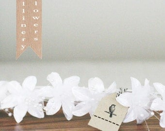 White wedding millinery fabric flower wired wand