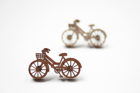 SALE! Bicycle Brooch, Wooden Brooch, Laser Cut Cherry or Birch Wood, Made in Brighton, UK