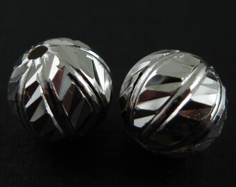 Sterling Silver Beads, Sterling Silver Spacers,Sterling Silver Findings-Textured Round Beads-8 mm-Jewelry Making Supplies(2 pcs)-SKU: 211019