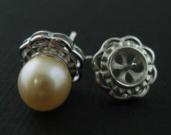 Earring Findings, Earring Hooks,Sterling Silver Earrings Findings , Fancy Earring Studs for Half Drilled Beads (1 pair - 2 pcs) - SKU:203023