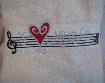 Hand Towel with Music Staff