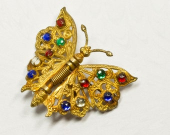 REDUCED Art Deco Filigree Butterfly Dress Clip, Multi Colored Stones,1920 -1930's,Spring JewelryGift for Her,Mothers Day