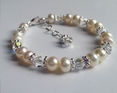 Custom color crystal, Freshwater Pearl and Sterling Silver Bracelet