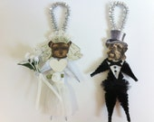 Yorkipoo BRIDE and GROOM Wedding vintage style chenille ORNAMENTS set of 2
