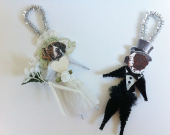 German Shorthair Pointer BRIDE and GROOM Wedding vintage style chenille ORNAMENTS set of 2