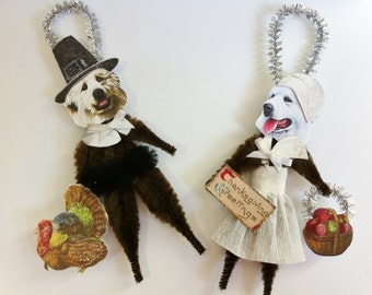 Great Pyrenees THANKSGIVING PILGRIMS vintage style chenille ORNAMENTS set of 2