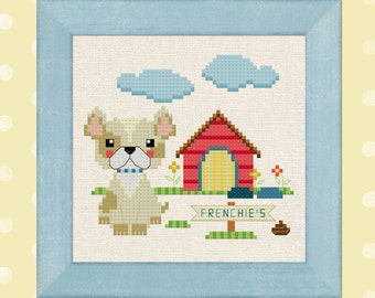 Welcome to Frenchie's. French Bull Dog Cross Stitch Pattern PDF File