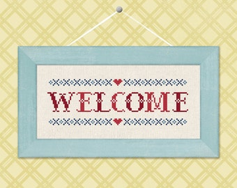 Welcome. Red and Blue Text Simple Cute Homey Counted Cross Stitch Pattern PDF File. Instant Download