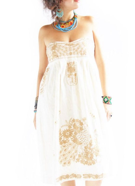 Strapless mexican embroidered dress birds and by aidacoronado