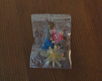 Miniature wooden wood  holy family for nativity scene