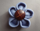 Hand Folded Kanzashi Flower Hair Clip with Blue Thermal Fabric and Vintage Button