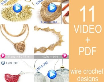 Unique Jewelry Crochet Pattern Combo Video tutorial PDF step by step instructions. 11 Amazing Jewelry designs