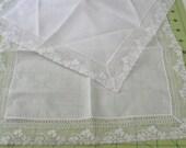 lace edged bridal hankies