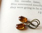 Vintage Swarovski Jewel Earrings, Gold Glass, Light Topaz, Crystal Glass Jewel, Hollywood Glam, Antiqued Brass, Translucent