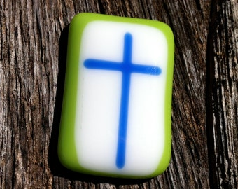 Comfort Pocket Cross Green and Blue Fused Glass - Worry Stone - Christian Gift