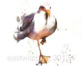 Seagull Print 8x10, seagull painting, beach house art, beach home decor, coastal art, seaside decor