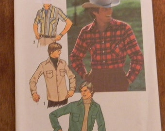 Vintage Simplicity Men's Western Shirt Pattern Number 7698 Uncut Size 44