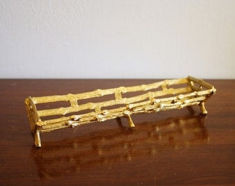 Vintage faux bamboo gold tray
