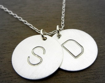 Two Letter Silver Initial Necklace, Sterling Silver Charms, Hand Stamped Personalized, Custom Sterling Silver Necklace DOT DUO E Ria Designs