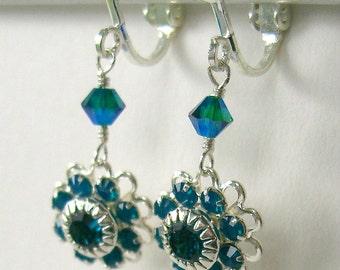 Princess earrings blue green swarovski crystals and filigree
