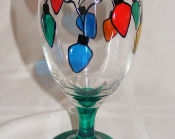Hand painted Christmas lights glass goblet