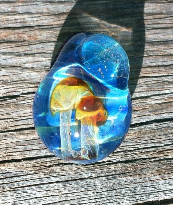 Hand Sculpted Glass Pendant With Two Amber Purple Shrooms