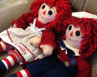 "25"" Personalized Raggedy Ann and Andy Matching Doll Set Handmade - Custom Order  - 25 Inches - Handmade Fabric Doll"