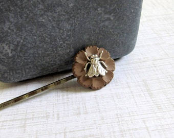 Fly Bobby Pin, Bug Hair Pin, Woodland Insect, Button Hair Clips, Fly, Silver Bug, Recycled Buttons, Mocha, Hair Accessory, Stocking Stuffer