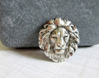 Lion Brooch, Woodland Brooch, Lion Pin, Animal Brooch, Animal Pin, Zoo Animal, Silver Lion, Jungle Animal, Lion's Mane, Lion, Silver, Pin