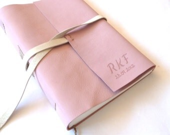Personalised Leather Journal, Light Pink and White