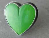 Green Nevada Turquoise Heart Sterling Silver Ring- Size 9 - keylimesugar