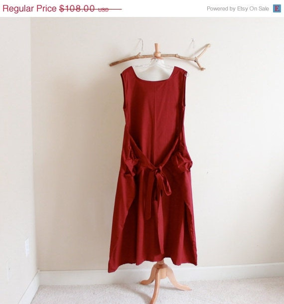 JulySale burgundy cotton flutter dress  bust 40 inch room ready to ship