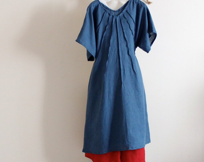 plus size easy check out  linen seashell pleats dress / casual linen dress / linen dress with pleats / handmade linen plus size  and all