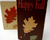 Happy Fall Stenciled Wood Sign Set, Woodworking Seasonal, Autumn, Harvest, September, October, Oak Leaf, Halloween, Thanksgiving, Rustic