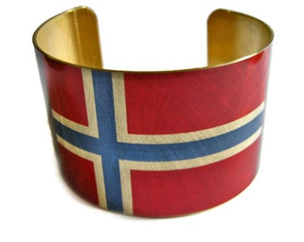 Norway FLAG cuff bracelet Norwegian Brass or aluminum Heritage Gifts for her