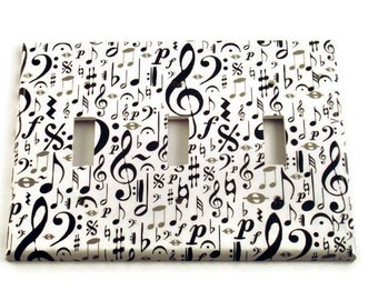 Triple Switchplate  Black and White Music Note Light Switch Cover  Switch Plate Wall Decor in High Note  (104T)