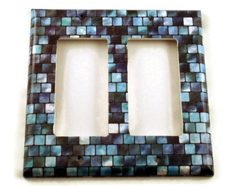 Double Rocker Blue Light Switch Cover Wall Decor Switchplate  Switch Plate in Tranquil Tiles (203DR)
