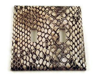Double Light Switchplate  Wall Decor  Light Switch Cover in  Snakeskin (202D)