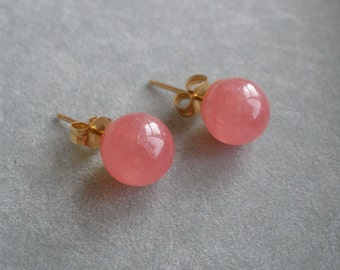 14K Rhodocrosite 8mm Ball Earrings with 14K Posts and Backs Hallmarked A Gem Quality!!