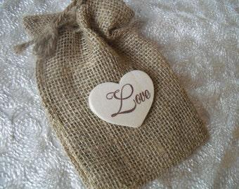 Favor Bags - SET OF 10 4x6 Wood Heart Love Burlap Favor Bags or Candy Buffet Bags - Item 1049